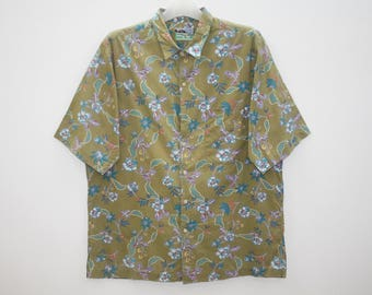 Vintage 90s Reyn Spooner Hawaiian Traditionals Blue Floral Colourful Moss Green Hawaiian Shirt Size L