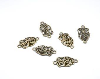 Set of 6 charms in-between OWL metal color bronze