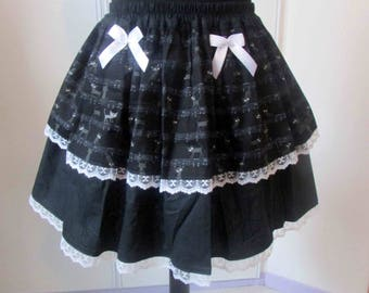 Sheet music and cats Black Lace skirt white