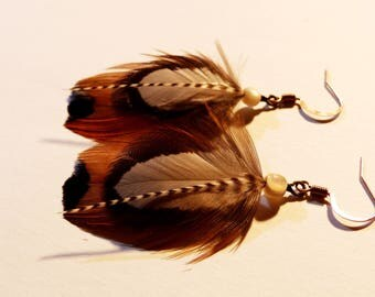 Earrings feathers and mother of Pearl