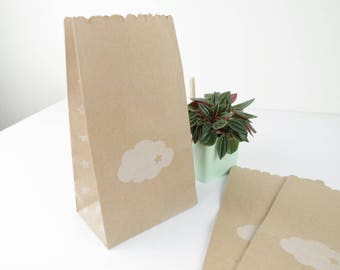 Bag (x 5) pockets with bellows in cloud white 11x19x6.5 cm gift printed kraft paper, jewelry.