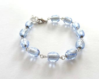 Bracelet sparkling Indian beads in blue ice and silver metal