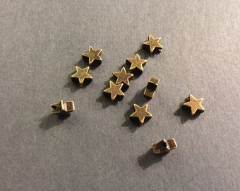 Star 50 beads metal bronze 6mm for jewelry designs