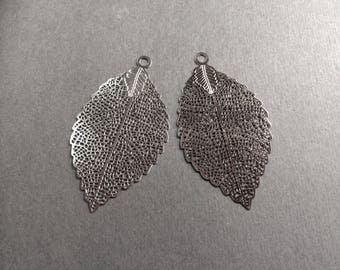 prints 6 openwork leaf 54mm rhodium plated for creations of jewels