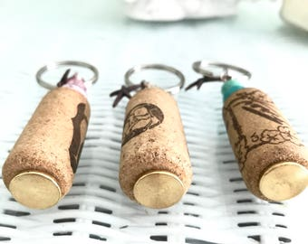 Starfish Recycled Wine Cork Nautical Coastal Keychain