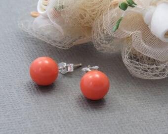 Coral Silver Pearl Studs, Swarovski Coral Bridal Earrings, Coral Pearl Studs, Coral Bridesmaid Earrings, Bridesmaid Gift, Wedding Jewelry