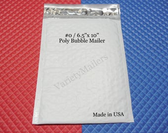 """18 Poly Bubble Postal Mailing Envelopes #0 6.5""""x 10"""" Padded Shipping Mailers ~ Made in USA"""