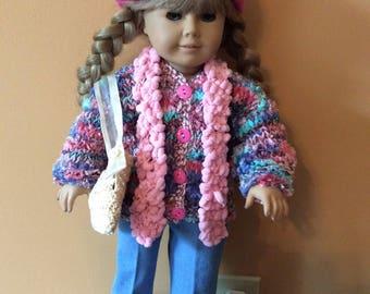 "American Girl 18"" doll 5 piece sweater/jean set"