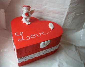 Jewelry box or trinket tray, Valentine's day or mother's day. gift idea, wedding, anniversary. Red and white Angel.