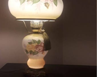 Lamp - Vintage Gone With The Wind Hurricane Parlor Lamp - Hand Painted