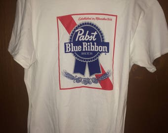 PBR Pabst Blue Ribbon T-Shirt Tee - Size Mens Large