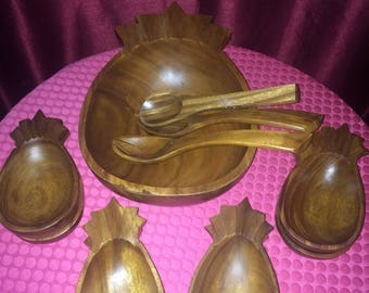 Wooden Pineapple Salad Fruit Serving Bowl, 8 Salad Bows and 3 Serving Spoons / Set of 12 Pieces
