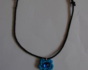 crochet blue flower jewelry