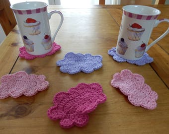 set of 6 coasters crochet cloud pink, purple and fuchsia