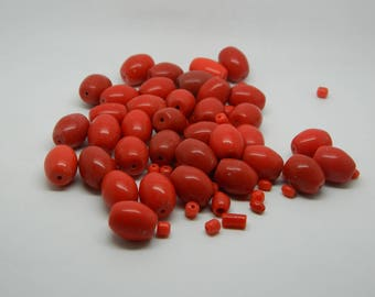 Assortment of 50 vintage red beads