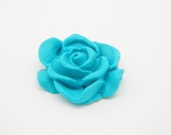 1 x cabochon fimo flower blue 20mm (l626)