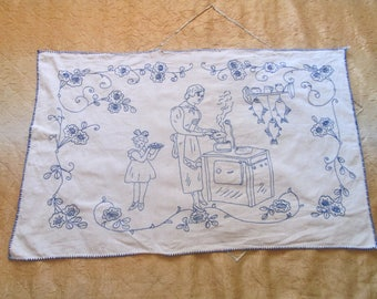 Vintage Handmade Wall Decoration, Hand-embroidered bulgarian wall cover, Wall Tapestry,Bulgarian Embroider Rug