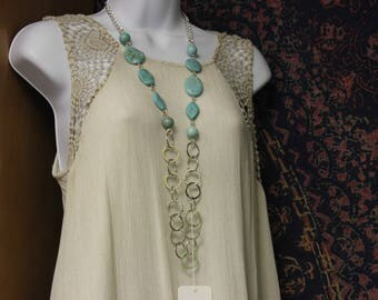 Chain and Ring Necklace with Turquois beads with earrings.  2 piece set
