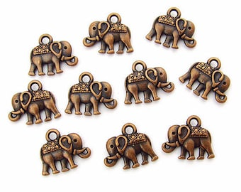 10 metal 12 mm antique copper colored elephant charms