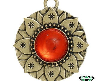 x 1 round cabochon red orange lotus flower