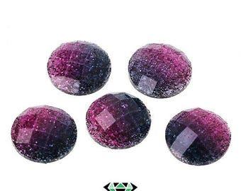 x 5 glitter gradient pink cabochons 12mm