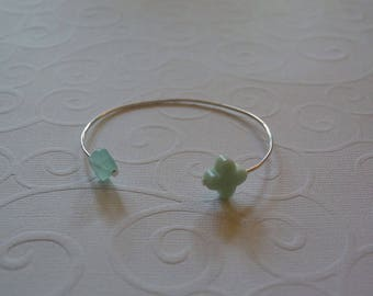 Silver Bangle and Double lime green clovers