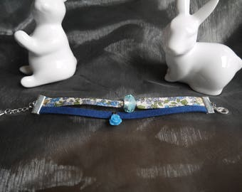 Blue floral Liberty and suede bracelet
