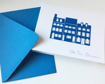Alexandria Virginia Greeting Card Townhouse A2 Blue