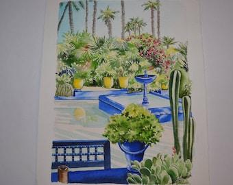 "Morocco watercolor ""Jardin de Majorelle: basin"" painting Opal Isis on Etsy"