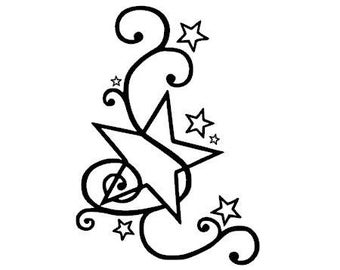 Stars style tatoo in flex fusible