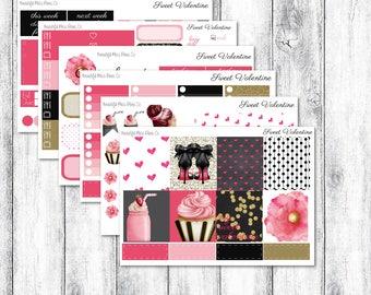 Sweet Valentine // Erin Condren Horizontal // Weekly Sticker Kit // Valentine Sticker Kit