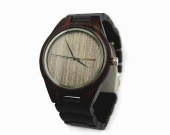 baobab | Robusto - Unique, Minimal, Simple Bamboo Wood Watch with Genuine Leather Strap, Men / Women - Perfect Groomsman Gift