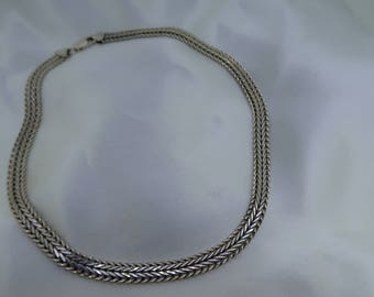 Sterling silver fancy link choker necklace chain