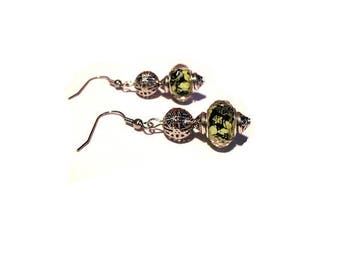 Retro earrings, faceted black flower beads yellow
