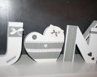 LETTERS wood tones grey and white heart for romantic wedding