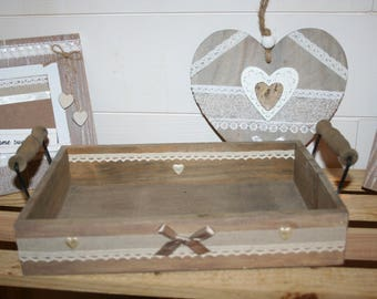 Vintage tray wood raw taupe lace and hearts and metal handles