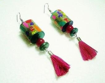On earrings, dangle earrings, recycled wood, ethnic, multicolor, fuchsia, green