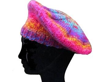 Béret femme, béret laine, multicolore, béret laine femme, béret rouge, fait-main