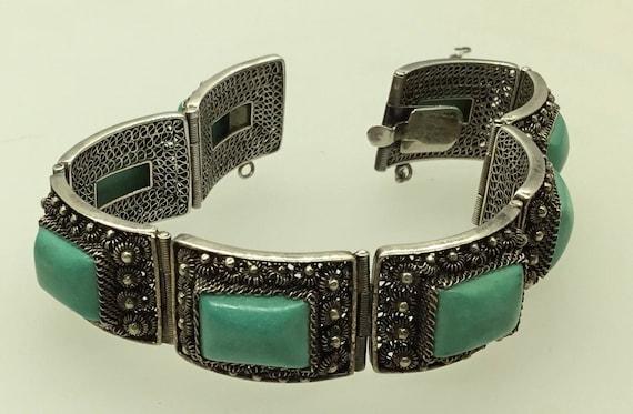 Vintage Chinese Filigree Turquoise Enamel Bracelet