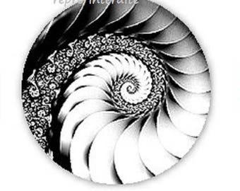 30mm, black and white swirl