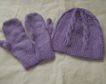 Ladies Hand Knit Lilac Cable and Rib Hat with Matching Mittens - New