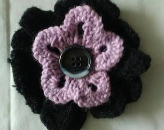 Flower brooch pink and black petals