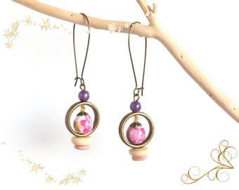 Ceramic pink floral earrings