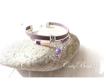 Bracelet liberty plum and ivory semi-rigid