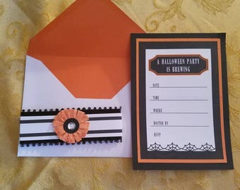 Set of 8 Halloween Party Invitations