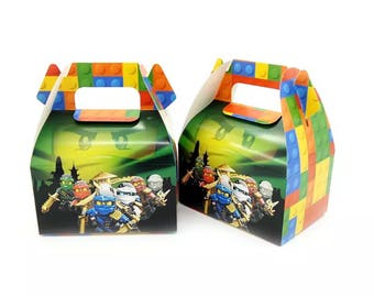 6x Lego Ninjago Lolly Loot Party Lunch Box Bag. Party Supplies Banner Bunting Flag Deco Favour