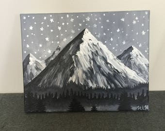 Starry night mountain painting