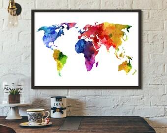 World Map Poster, Printable art, Print, Scandinavian print, Wall art