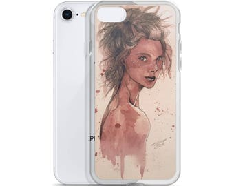 White Freckles - iPhone Case - Wine on Watercolor Paper