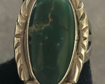 Vintage Sterling and Green Turquoise Ring
